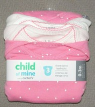 Carter's Girl Bodysuits Short Sleeve Pink 3pk Baby Child Of Mine All Cotton 0-3 - $7.91