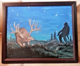 """THE ENCOUNTER"" ELK & BIGFOOT PAINTING 16X20 BY NATIVE AMERICAN BUDDY PA... - $420.75"