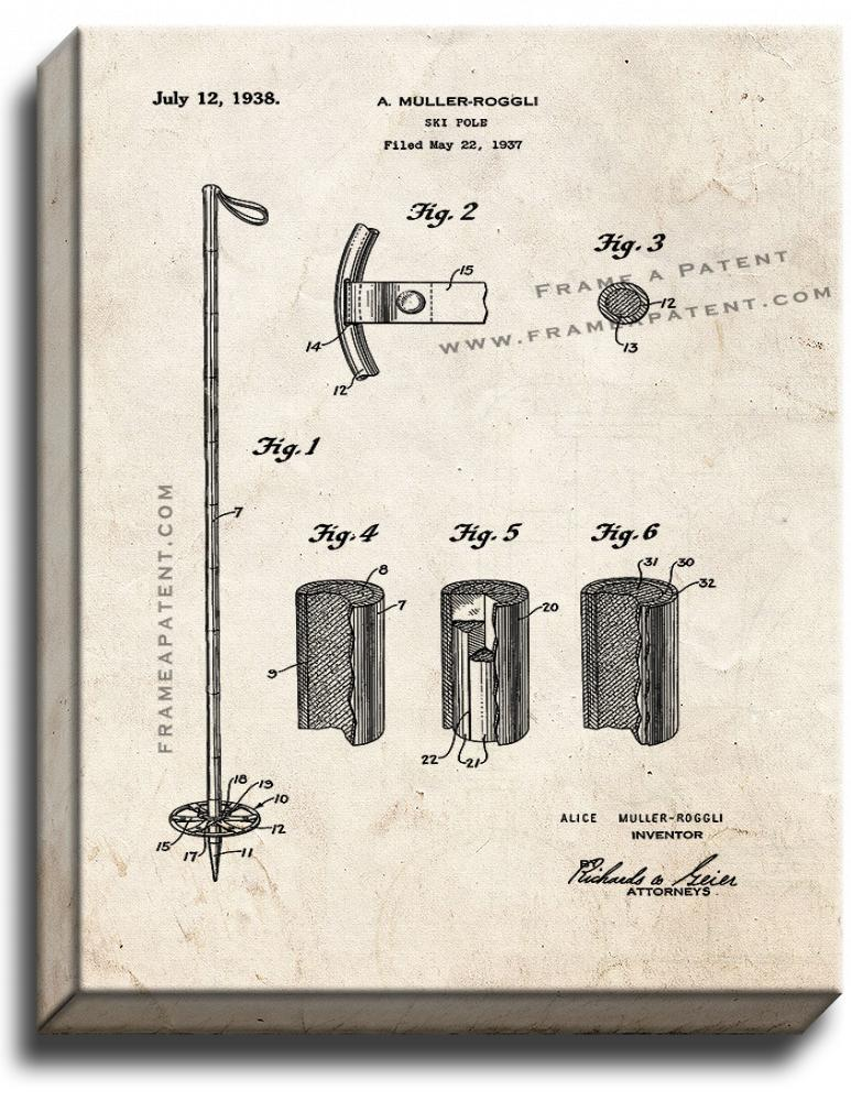 Primary image for Ski-pole Patent Print Old Look on Canvas
