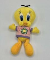 "1998 Warner Bros Looney Tunes Tweety Bird Flower Shirt 8"" Plush B EAN Bag Toy Vtg - $12.86"