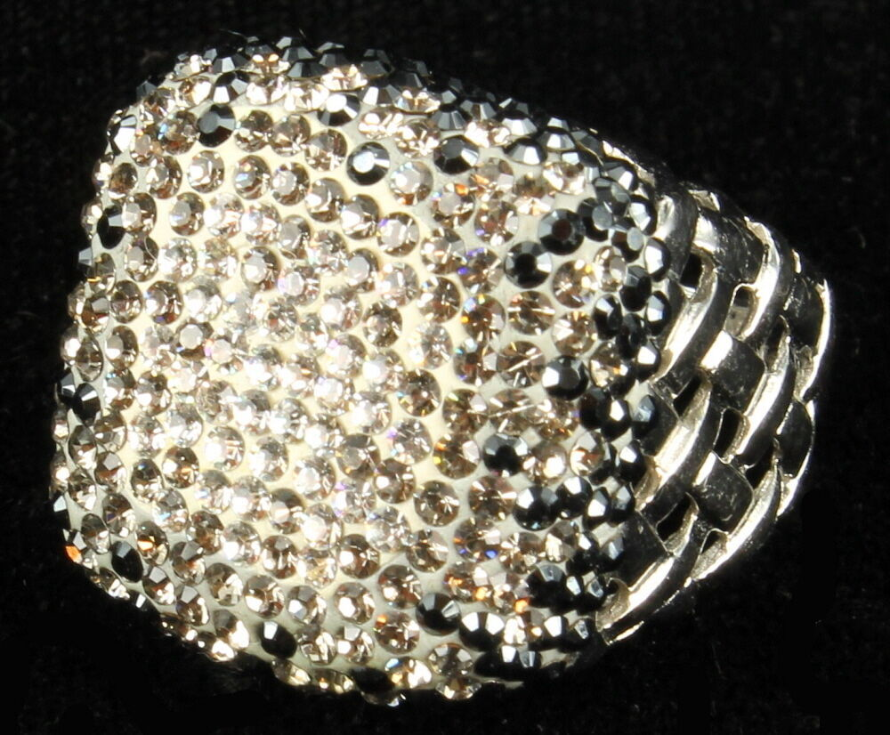 Primary image for VINTAGE DAZZLING BLUE/CLEAR RHINESTONES SILVER TONE LATTICE COCkTAIL RING SZ 7.5