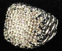 VINTAGE DAZZLING BLUE/CLEAR RHINESTONES SILVER TONE LATTICE COCkTAIL RIN... - $87.74