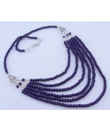 Blue Agate Silver Overlay Beaded Necklace Jewelry 51 Gr. Ms-18-7 - $2.59