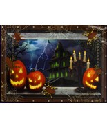 Jack-O-Lantern Hunted House Silhouette Wall Door Table Cover Halloween D... - $4.94