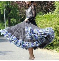Women Girl Short Ruffle Layered Tulle Skirt Outfit Plus Size Tulle Holiday Skirt image 1