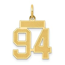 14k Yellow Gold Small Satin Number # 94 Charm Pendant 0.79 Inch - $198.40