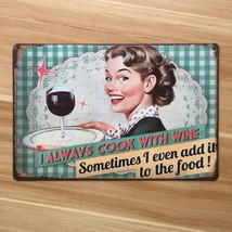 **-shipping-sexy-lady-and-red-wine-metal-tin-signs-A-0421-Metal-plaque-h... - $14.67