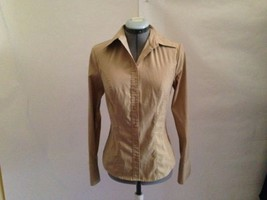 Express Light Brown Slim Fitting Stetch Blouse with Long Sleeve Shirt Top 4 - $19.27
