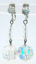 Vintage Silver Tone Clear AB Rhinestone Crystal Dangle Clip Earrings - $19.80