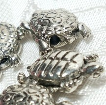 TURTLE BEAD FINE PEWTER BEAD - BRIGHT SILVER FINISH - 14mm L x 15mm W x 10mm D image 2