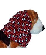 Dog Snood Black with Red White Paw Prints Cotton by Howlin Hounds Size S... - $11.50