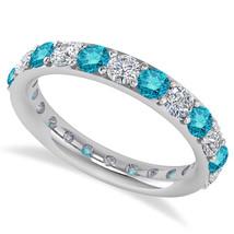 2.00 Ct Round Blue & White Real Diamond 14K Gold Full Eternity Weddi... - €934,51 EUR