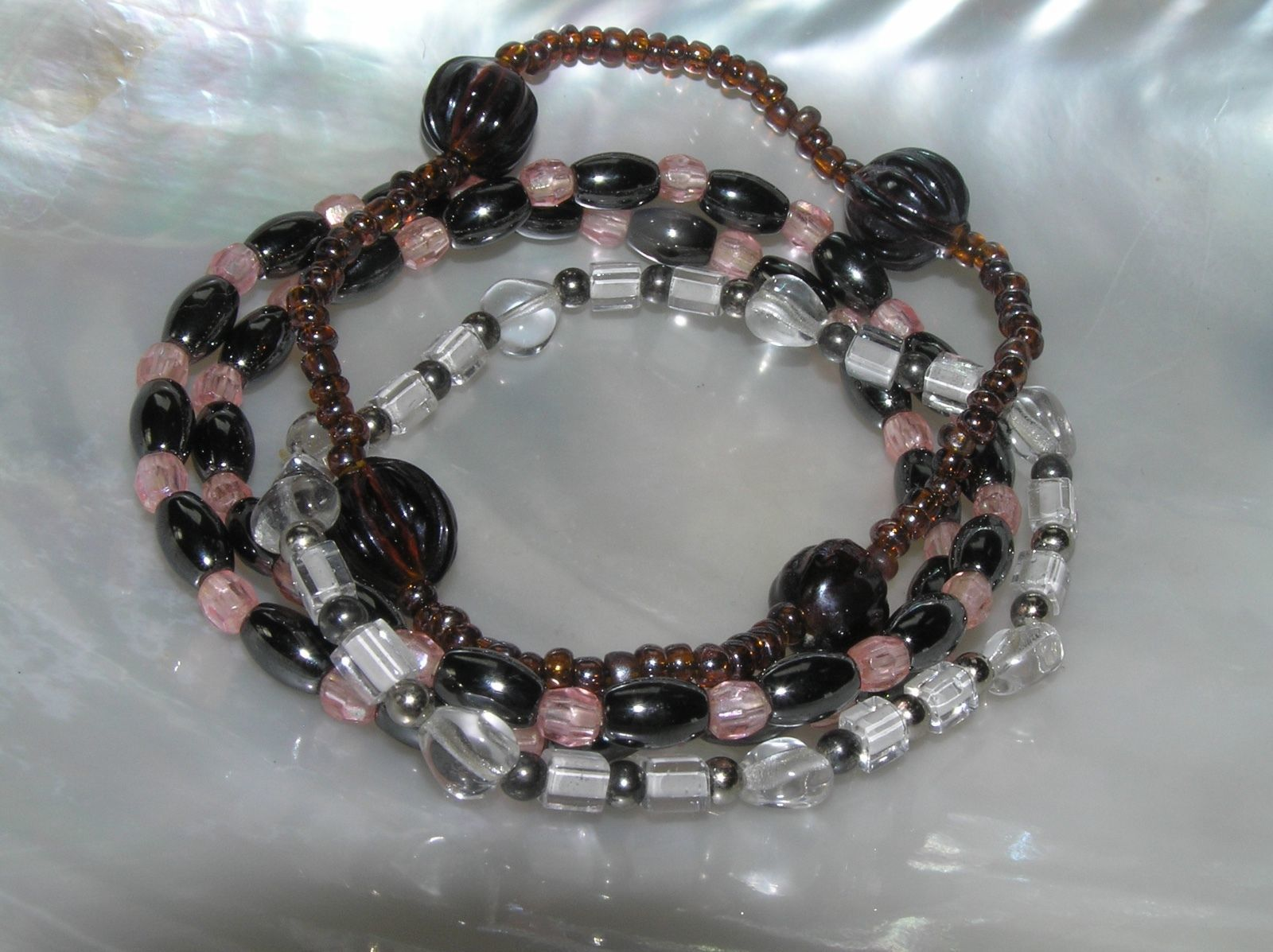 Gently Used Lot of 3 Hematite Pink Clear Glass Bronze Plastic Bead Stretch Brace