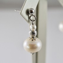 925 silver earrings with white pearls freshwater and faceted balls image 2