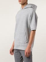 NWT $119 Zanerobe MVP Sweatshirt Quilt Short Sleeve Hoodie in Grey Marle... - $47.82