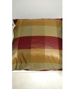 "XL Nice Charter Club Euro Pillow & Cover 26"" Square Silky Gold Red Check... - $12.19"