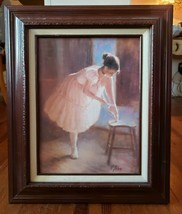 "Framed Textured Art Print Ballerina Artist signed R. Tolan 23 1/8"" x 18 ... - $29.70"