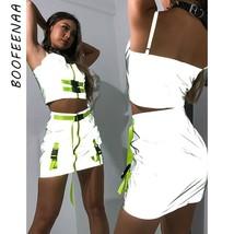 BOOFEENAA Neon Green Zipper Buckle Belt Reflective Sexy Two Piece Set Wo... - $36.99+