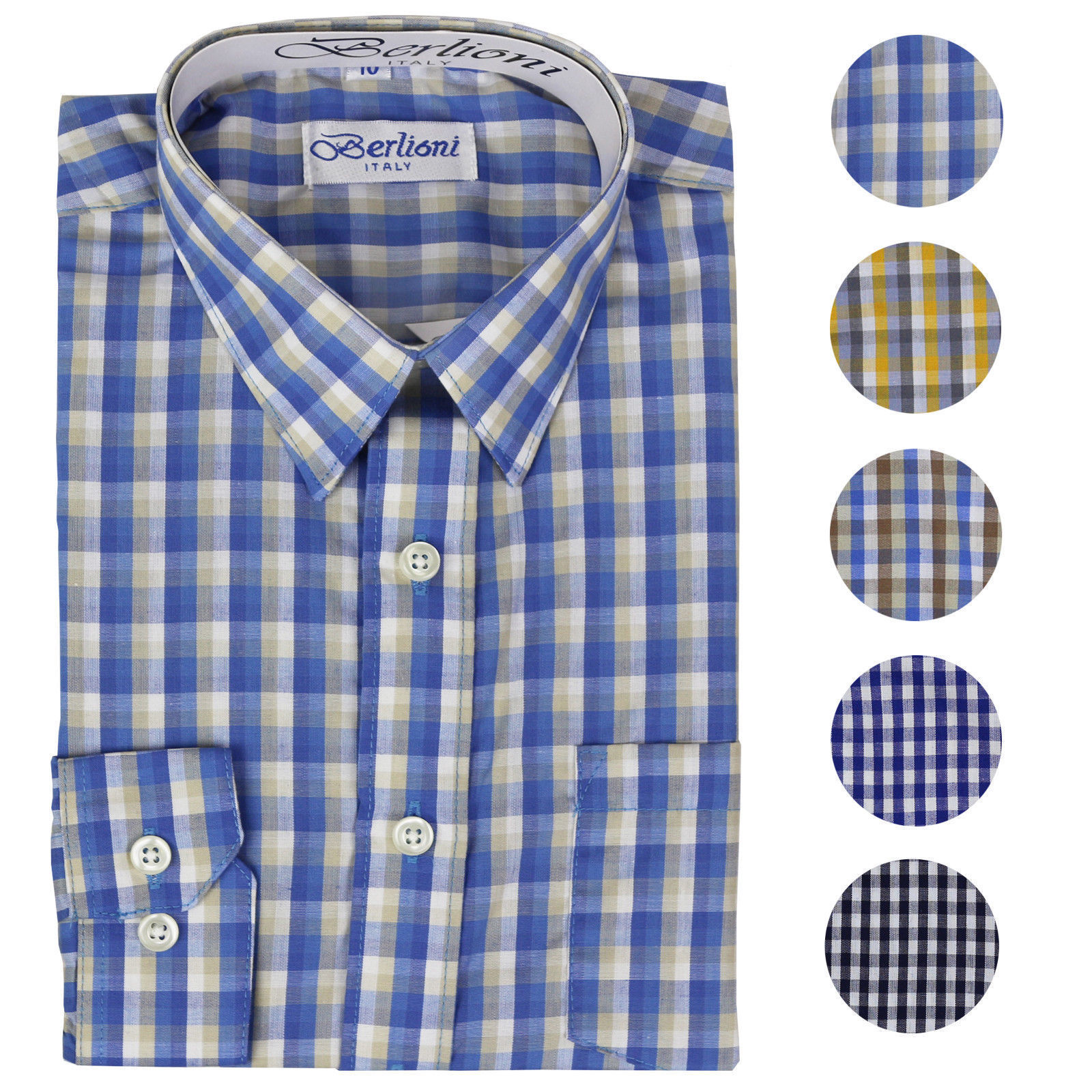 Berlioni Italy Boys Junior Kids Toddler Checkered Long Sleeve Dress Shirt