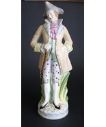 Vintage Man Porcelain Figurine Bisque Colonial Hat Tall  - $48.00