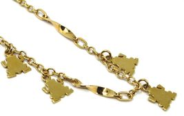 SOLID 18K YELLOW GOLD BRACELET, 4 PENDANTS, FLAT FROG, SPIRAL, ROLO CHAIN image 3
