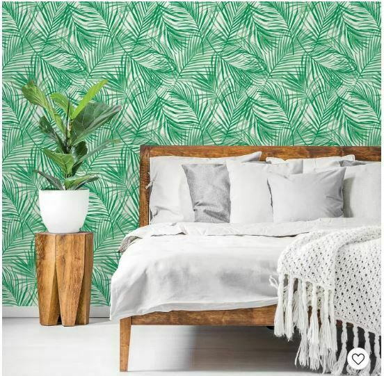 "Peel & Stick Wallpaper, Tropical Palm Green By Opalhouse 198"" X 20"""