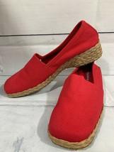 Easy Spirit Women's Red Canvas Seasta Espadrille Jute Wedge Shoes Size 7.5 M - $24.05