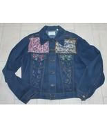 Vintage Farah Denim Jacket Lace Fabric Paint Embellish - $38.69