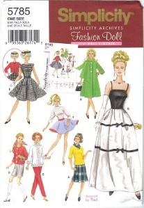 "Primary image for Simplicity Archive Pattern 5785 11 1/2"" Fashion Doll Clothes Wardrobe Barbie"