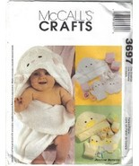 McCall's 3697 Baby Necessities Lamb or Duck Bath Towel Wash Mitt more Uncut - $6.99