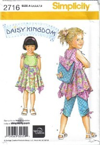 Simplicity Pattern 2716 Daisy Kingdom Dress Top Capris Backpack 3-8 Uncut