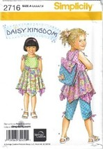Simplicity Pattern 2716 Daisy Kingdom Dress Top Capris Backpack 3-8 Uncut image 1