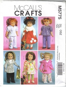 Primary image for McCall's 5775 18 inch Doll Wardrobe w Accessories Puppy Coat Gloves more Uncut