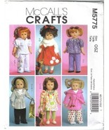 McCall's 5775 18 inch Doll Wardrobe w Accessories Puppy Coat Gloves more... - $6.99