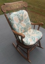 Wood Rocking Chair Large with Cushion Stenciled Fruit Strong Sturdy and ... - £45.42 GBP