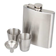 8 oz Stainless Steel Hip Flask With Funnel Hip Pocket Flagon Whiskey Bra... - $9.88