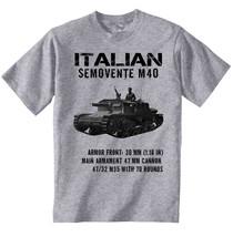 Italian Semovente M40 Inspired Wwii Tank - New Cotton Grey Tshirt - $24.17