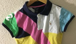 Ralph Lauren Girl's Multi-Color Block #2 Polo S/S Shirt L(12--14) - $19.79