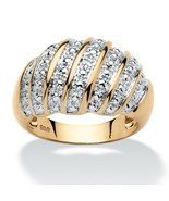 Diamond Accent 14k Gold over .925 Silver Dome Ring - $45.82