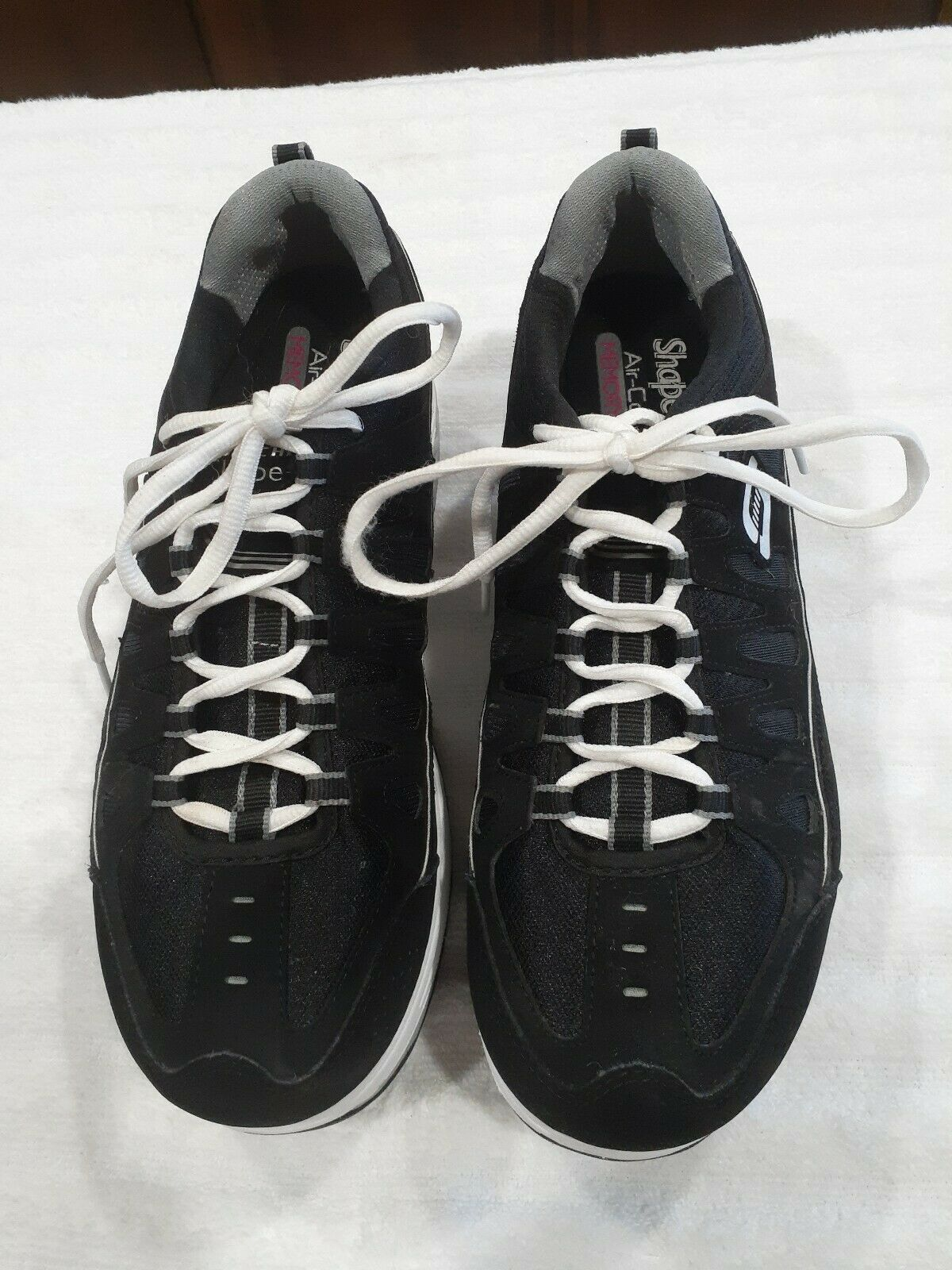 Womens Sz 9.5 M Skechers Shape-Ups Comfort Stride Shoes Sneakers Black & Silver