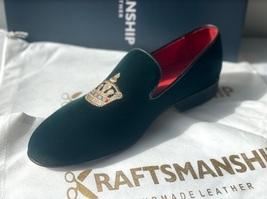 Handmade Men's Green Velvet Embroidered Slip Ons Loafer Shoes image 2