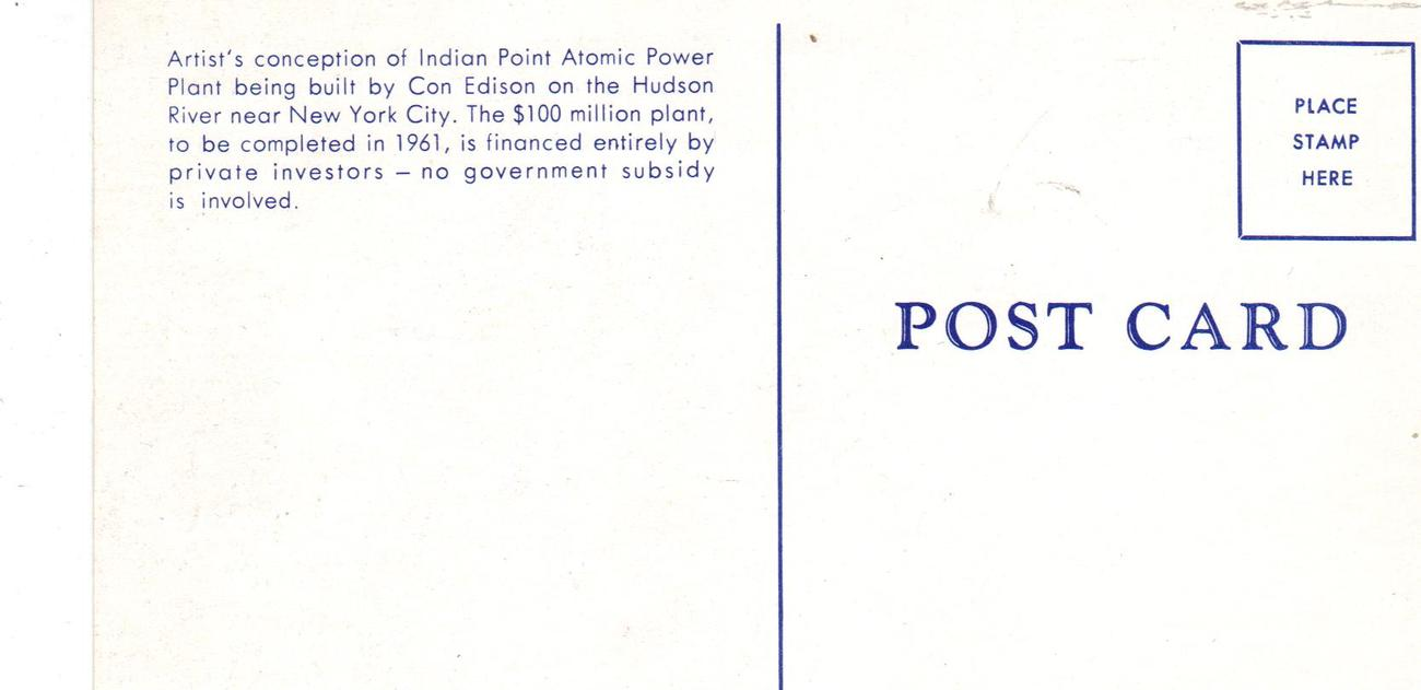 Con Edison's Indian Point Atomic Power Plant -( 3) THREE  Postcards