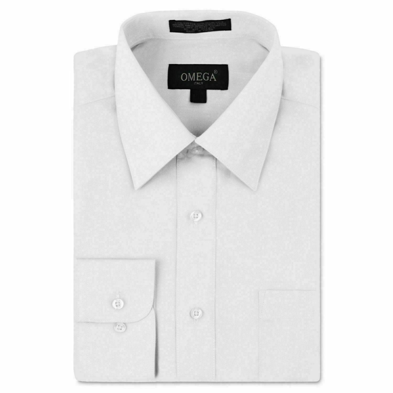 Omega Italy Men's Long Sleeve Solid Regular Fit White Dress Shirt - S