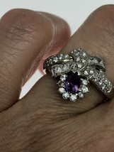 Vintage Amethyst Ring White Sapphire 925 Sterling Silver Size 7.5 - $106.92