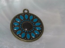 Estate Turquoise Enameled Antique Goldtone Sunflower Pendant – 1 and 1/8... - $8.59