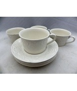 Mikasa English Countryside White - set/lot of 4 Coffee Cup & Saucer sets... - $22.28