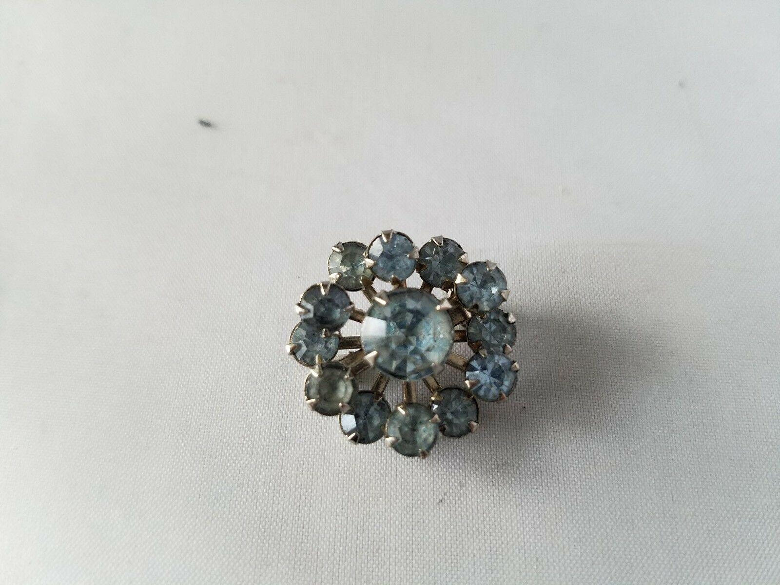 Vintage Fashion Jewelry Set Small Pin Brooch & Matching Earrings Rhinestone