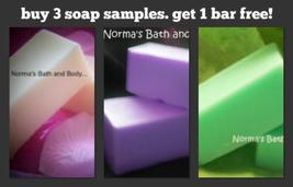 three soap samples. get one soap sample free - $6.00