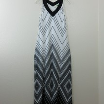 Chico's 0 Long Maxi Stretch Knit Halter Dress Size 4 S Lined Sleeveless ... - $38.77