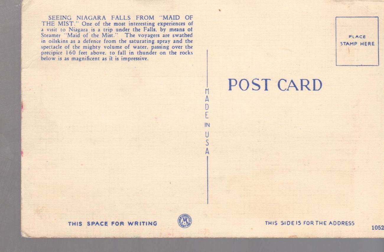 Niagra Falls, Maid Of  Mist  , New York  State (1940's)